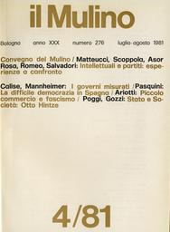 Copertina del fascicolo dell'articolo Costituzione e potenza: la scienza della politica in Otto Hintze